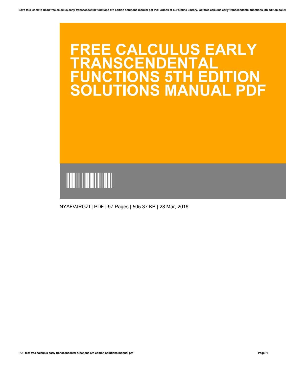 calculus early transcendental functions 5th edition solutions manual pdf