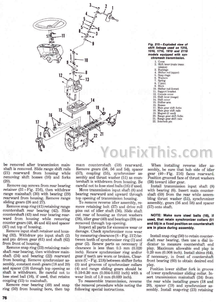 ford 1210 tractor parts manual