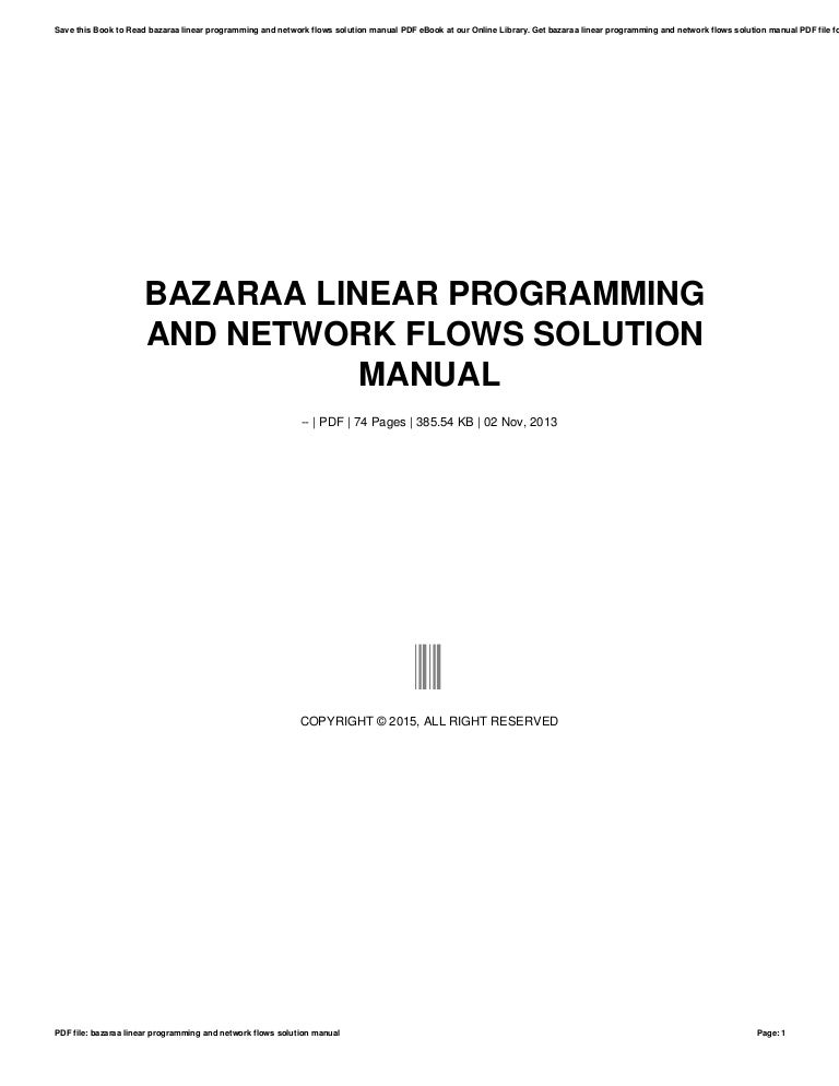 bazaraa linear programming and network flows solution manual